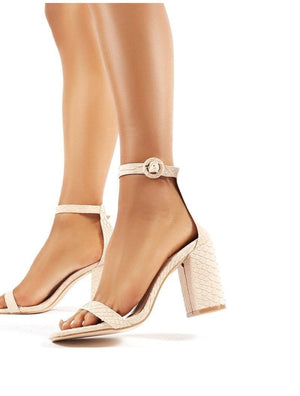 Neela Nude Croc Block Heeled Barely Theres