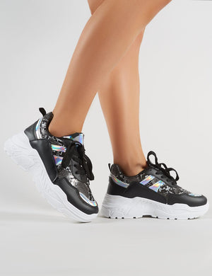 Burn Chunky Trainers in Black and Snakeskin