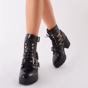 Splice Cutwork Biker Boots in Black