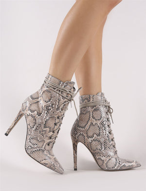Spectrum Lace Up Ankle Boots in Snake