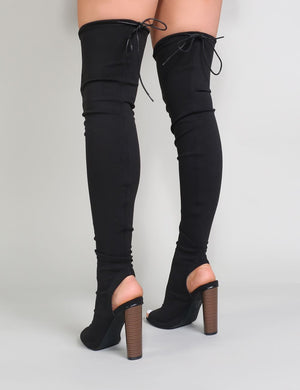 Sidney Peeptoe Sock Fit Boots in Black