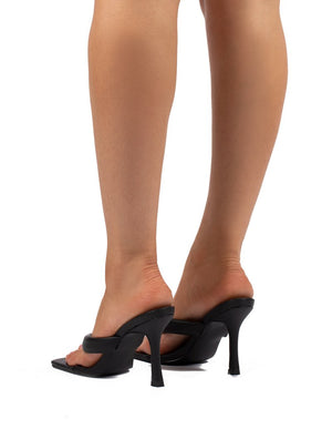 Blondie Black Toe Thong Heeled Sandals