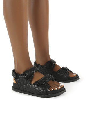 Carmen Black Drench Pu Quilted Flat Sandals