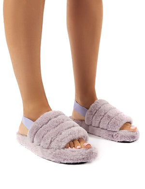 Dreamtime Lilac Fluffy Strap Back Slippers