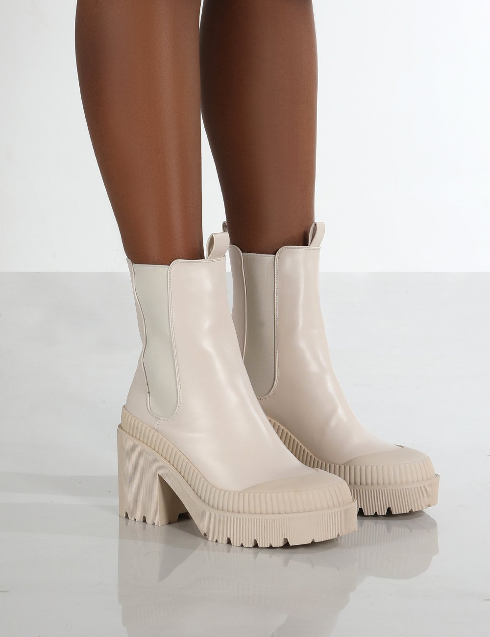 Liah Putty Drench Chunky Sole Heeled Ankle Boots - Us 5