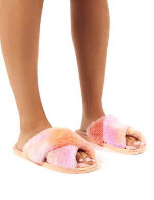 Mallow Lilac and Peach Fluffy Cross Strap Slippers