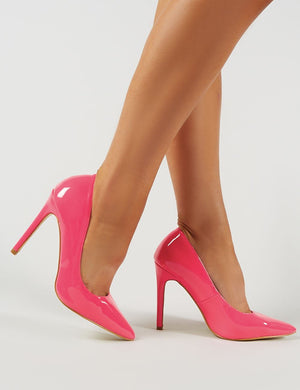 Sleek Court Heels in Neon Pink
