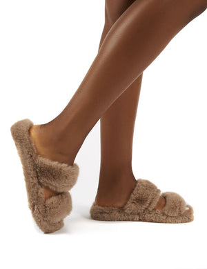 Teddi Tan Fluffy Double Strap Slider Faux Fur Slipper