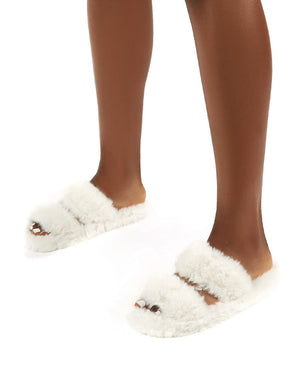 Teddi White Fluffy Double Strap Slider Faux Fur Slipper