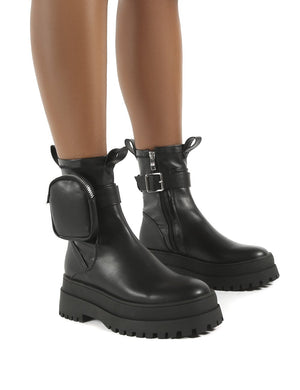 Thought Black Pu Pocket Chunky Sole Ankle Boot