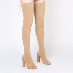 Sidney Peeptoe Sock Fit Boots in Camel Stretch