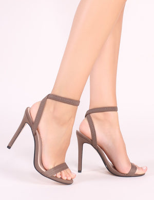 Abyss Barely There Heels in Khaki