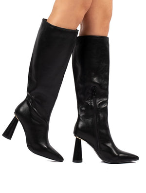 Aislinn Black Statement Heel Knee High Boots