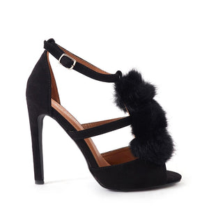 Andrea Furry Pom Pom Heels In Black Faux Suede