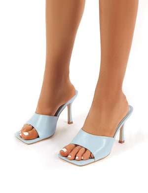 Harlow Wide Fit Light Blue PU Heeled Mules