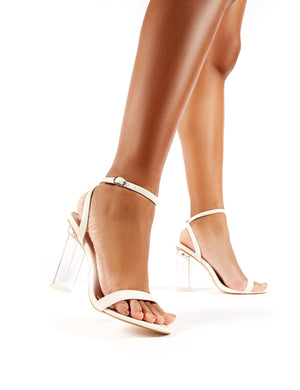 Blink White Croc Barely There Perspex Round Block Heels