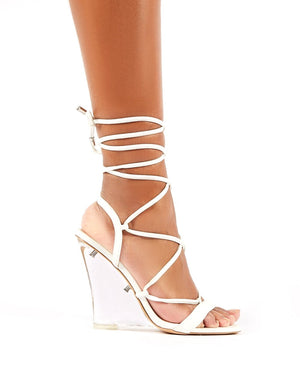 Carnival White PU Lace Up Perspex Wedge Heels