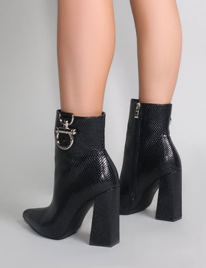 Forever Metal Trim Ankle Boots in Black