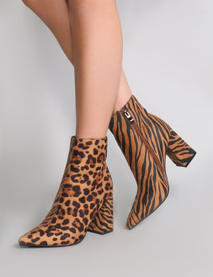 Chaos Contrast Pointed Toe Ankle Boots in Leopard and Tiger Print