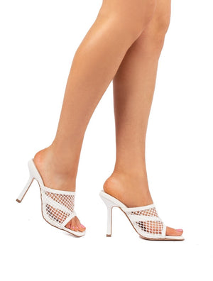Cyra White Fishnet Heeled Mule
