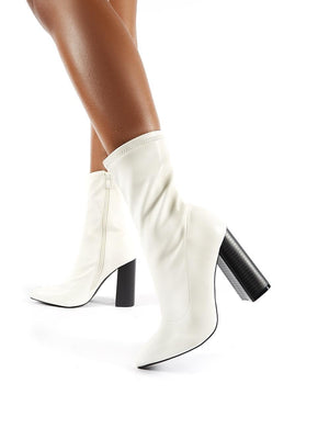 Libby Flared Heel Sock Fit Ankle Boots in White PU