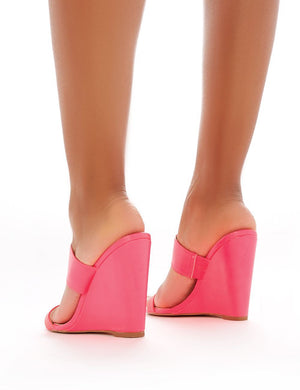 Lena Wedge Heeled Mules in Neon Pink