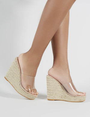 Pacha Espadrille Wedge Heeled Mules in Nude