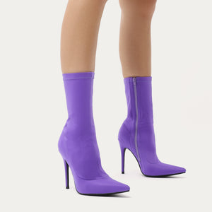 Direct Pointy Sock Boots in Purple Stretch