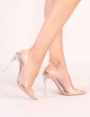 Drank Perspex Court Heels in Rose Gold