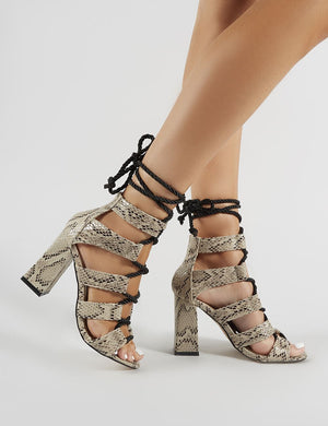Cobra Lace Up Block Heels in Snake
