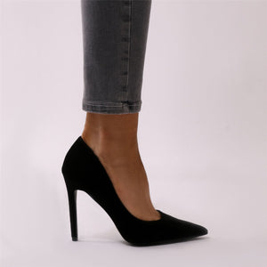 Tipsy Cut Out Court Heels in Black Faux Suede