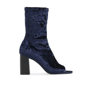 Yasmin Peeptoe Sock Fit Ankle Boots in Navy Velvet