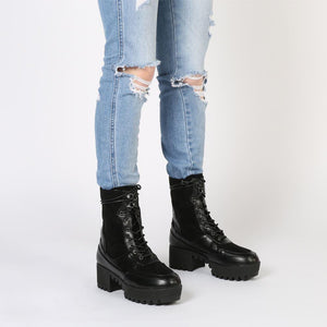 Khloe Chunky Sole Lace Up Ankle Boot in Black