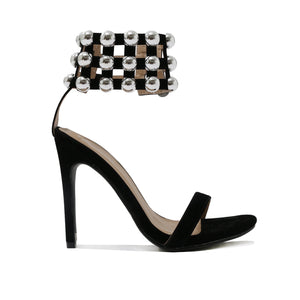 Edge Dome Stud Caged Cuff Stiletto Heels in Black Faux Suede