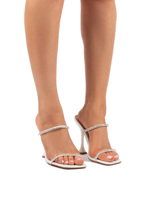 Effortless White Barely There Diamante Heels