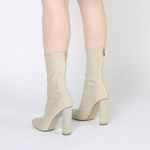Emily Sock Fit Knitted Boot in Gold Shimmer