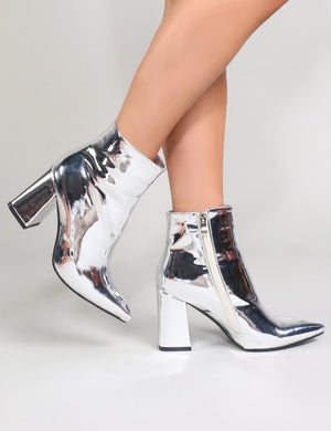 Empire Pointed Toe Ankle Boots in Silver Metallic
