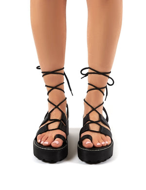 Erika Black PU Lace Up Chunky Sole Flatform Sandals