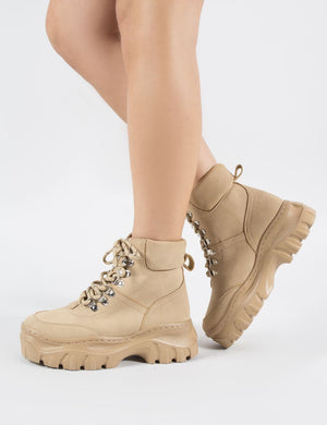 Aim Lace Up Ankle Boots in Sand