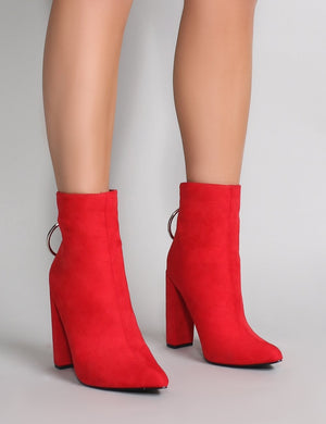 Fleek Metal Ring Ankle Boots in Red Faux Suede