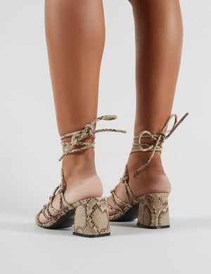 Freya Knotted Strappy Block Heeled Sandals in Natural Snakeskin