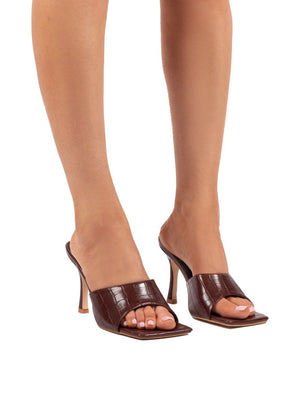 Harlow Chocolate Croc PU Heeled Mules