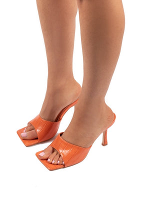 Harlow Orange PU Heeled Mules