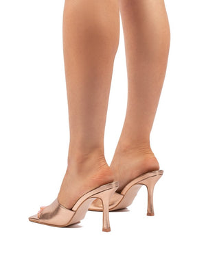Harlow Rose Gold PU Heeled Mules