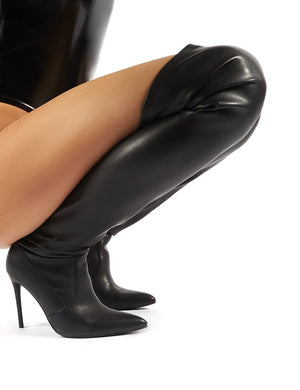 Invasion Black PU Stiletto Heeled Over the Knee Boots