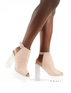 Jada Cleated Platform Block Heels in Nude