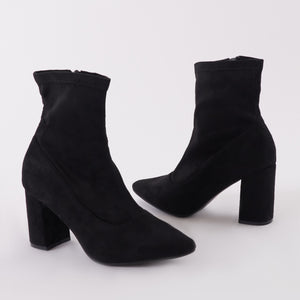 Perri Sock Fit Ankle Boots in Black Faux Suede