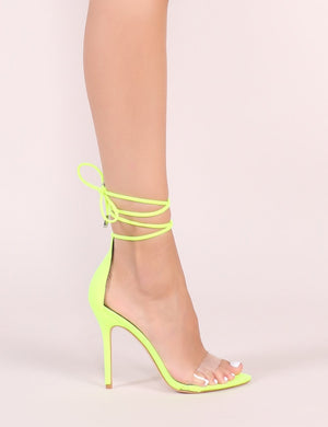 Jorja Lace Up Heels in Neon Yellow