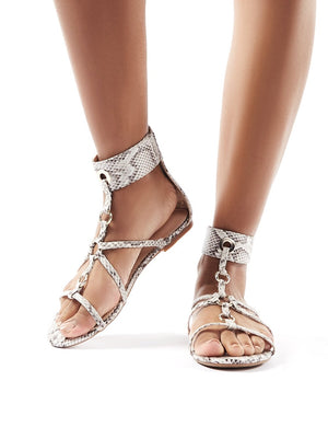 Justice Monochrome Snake Strappy Sandals