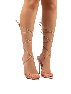 Lush Nude Lace Up Strappy Stiletto Heels